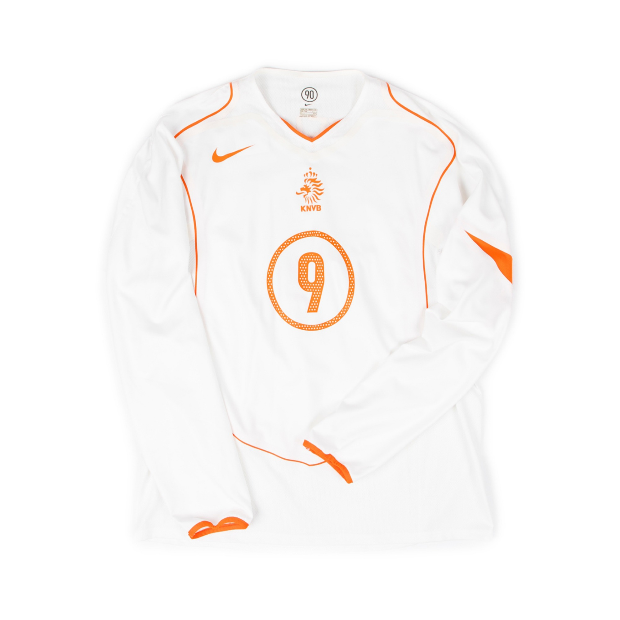 NETHERLANDS 2004-06 AWAY L/S #9 VAN NISTELROOY (PLAYER ISSUE)