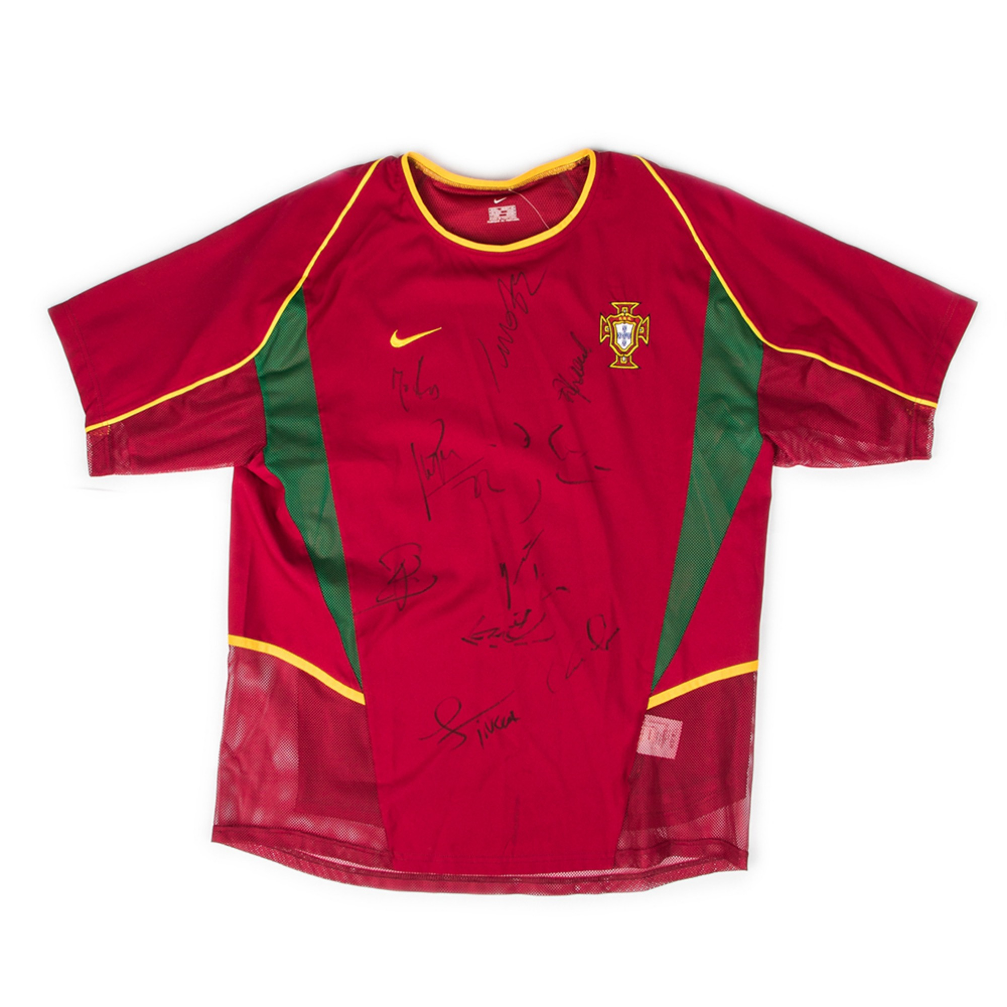 PORTUGAL 2002-04 HOME S/S(PLAYER ISSUE,SIGNED)